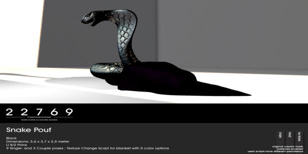 22769 ~ [bauwerk] Cobra Pouf - black - L$185