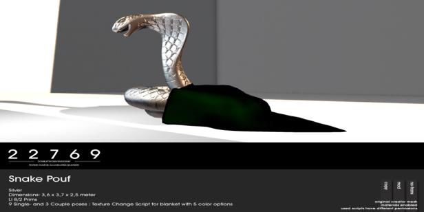 22769 ~ [bauwerk] Cobra Pouf - silver - L$185