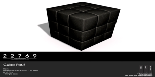 22769 ~ [bauwerk] Cube Pouf Black - L$85