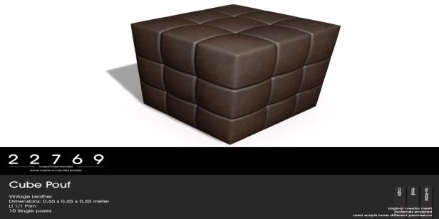 22769 ~ [bauwerk] Cube Pouf Vintage Leather - L$85
