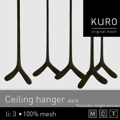 Kuro - Ceiling hanger dark - $L75