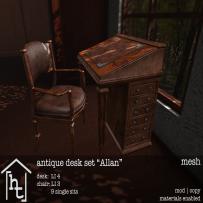 [ht_home] - antique desk set - Allan - L$179