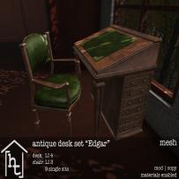 [ht_home] - antique desk set - Edgar - L$179