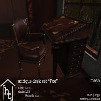 [ht_home] - antique desk set - Poe - L$179
