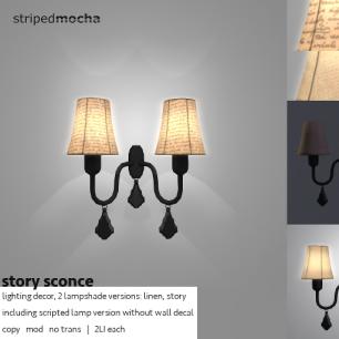 Striped Mocha - Story Sconce - L$49